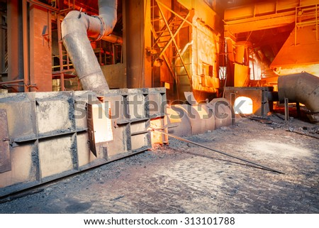 Hangzhou, China - on August 18, 2015? hangzhou Steel mills Molten iron furnace production line, hangzhou Steel mills is a large iron and steel factory . - stock photo