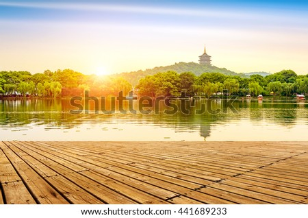 hangzhou scenery,pagoda on the west lake lakefront in dusk
