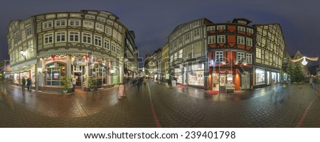 HANNOVER, GERMANY - DECEMBER  18, 2014: Christmas illumination on streets in the center of Hannover. 360 degree panorama.