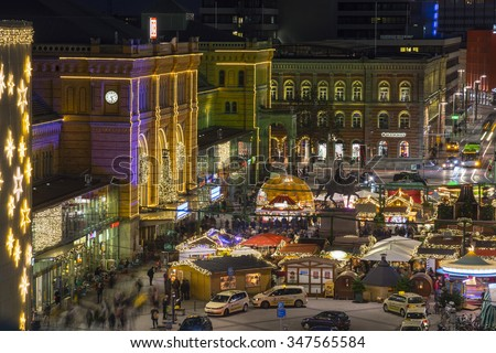 Hannover, Germany - December 04, 2015: Christmas market and christmas street decoration in Hannover at evening.