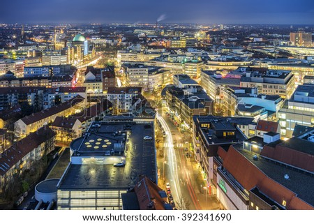 Hannover, Germany - February 11, 2016: Aerial view of Hannover at evening. Lower Saxony. Germany.