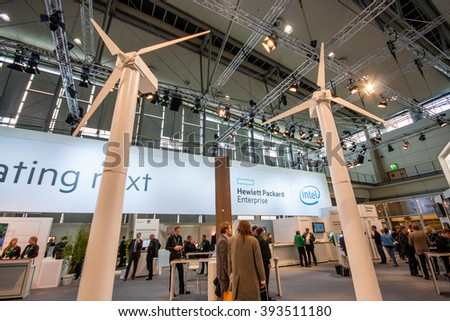 HANNOVER, GERMANY - MARCH 14, 2016: Booth of Hewlett Packard Enterprise company at CeBIT information technology trade show in Hannover, Germany on March 14, 2016. - stock photo