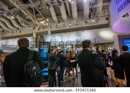 HANNOVER, GERMANY - MARCH 14, 2016: Booth of Huawei company at CeBIT information technology trade show in Hannover, Germany on March 14, 2016. - stock photo