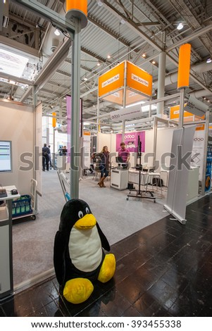HANNOVER, GERMANY - MARCH 14, 2016: Booth of Open Source Park at CeBIT information technology trade show in Hannover, Germany on March 14, 2016. - stock photo