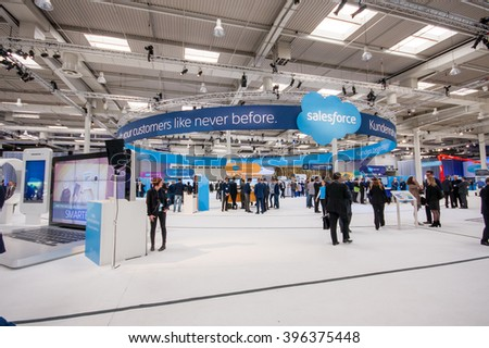 HANNOVER, GERMANY - MARCH 15, 2016: Booth of Salesforce company at CeBIT information technology trade show in Hannover, Germany on March 15, 2016. - stock photo