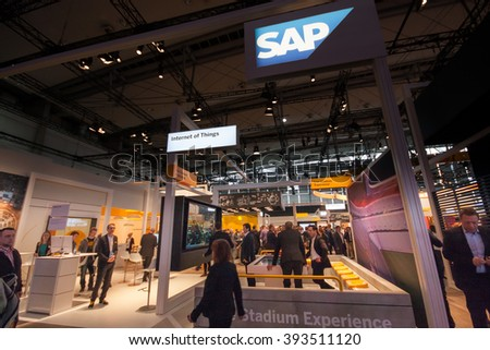 HANNOVER, GERMANY - MARCH 14, 2016: Booth of SAP company at CeBIT information technology trade show in Hannover, Germany on March 14, 2016. - stock photo