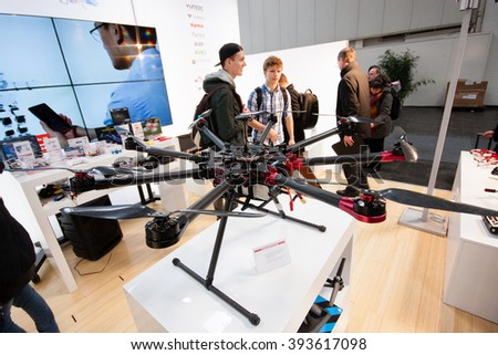 HANNOVER, GERMANY - MARCH 14, 2016: Drone displayed at CeBIT information technology trade show in Hannover, Germany on March 14, 2016. - stock photo