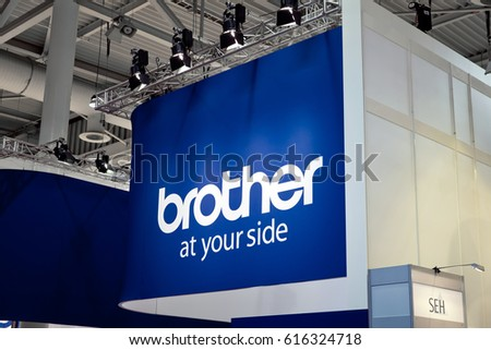 Hannover, Germany - March, 2017: Japanese company Brother Industries logo sign on exhibition fair Cebit 2017 in Hannover Messe, Germany