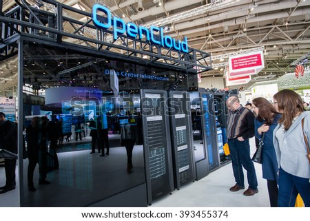 HANNOVER, GERMANY - MARCH 14, 2016: OpenCloud stand in booth of Huawei company at CeBIT information technology trade show in Hannover, Germany on March 14, 2016. - stock photo