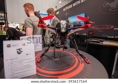 HANNOVER, GERMANY - MARCH 14, 2016: RC Logger X3 drone displayed at CeBIT information technology trade show in Hannover, Germany on March 14, 2016. - stock photo