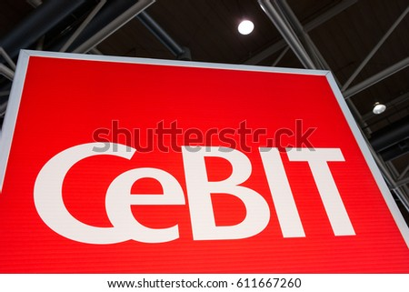 "HANNOVER, GERMANY MARCH, 2017: The logo of the brand ""Cebit"" in a hall. The Cebit is the biggest trade fair for information technology in the world."