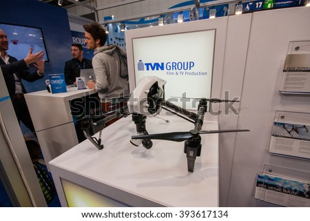 HANNOVER, GERMANY - MARCH 14, 2016: TVN drone displayed at CeBIT information technology trade show in Hannover, Germany on March 14, 2016. - stock photo
