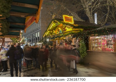 HANNOVER, GERMANY - NOVEMBER  28, 2014: Christmas markt in Hannover at evening
