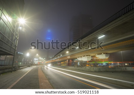 Hannover, Germany - October 21, 2016: Foggy october morning on the streets of Hannover, Lower Saxony, Germany.