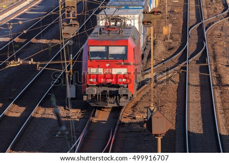 HANNOVER / GERMANY - OCTOBER 16, 2016: freight train from german rail, deutsche bahn, drives through the freight yard hannover / germany at october 16, 2016