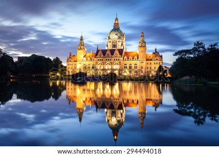 Hannover new city hall or Rathaus in Germany