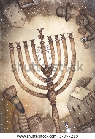 hannukah card with candles - stock photo