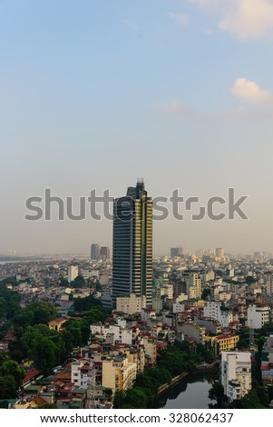 Hanoi cityscape at sunset. Hanoi is the capital of Vietnam, a dynamic and energetic city on the move