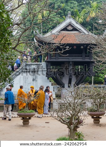 "Hanoi - January 26, 2014: Buddhist monks gathered at the temple ""Pagoda ode leg"" - Hanoi attractions to make donations to the Chinese New Year January 26, 2014, Hanoi, Vietnam - stock photo"