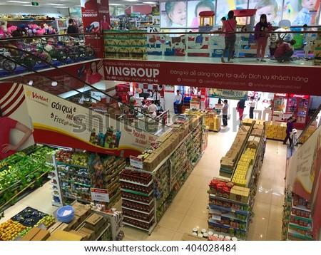 Hanoi, Vietnam - Apr 4, 2016: Indoor view of consumer goods talls at a Vinmart supermarket in Hanoi capital. Vinmart is and retailer brand of Vingroup - a biggest Vietnamese corporation. - stock photo