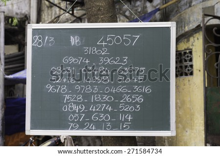 Hanoi, Vietnam - Apr 5, 2015: Public lottery result wrote on a board in Hanoi street