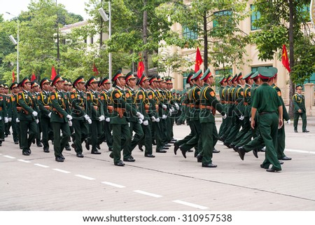 Hanoi, vietnam, Aug 29, 2015: Armed Forces Vietnam are the military parade rehearsal in preparation for Independence Day