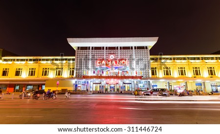 HANOI, VIETNAM-AUG 29, 2015: Front exterior view of Hanoi railway station on Le Duan street. It is the starting point of five railway lines leading to almost every Vietnamese province