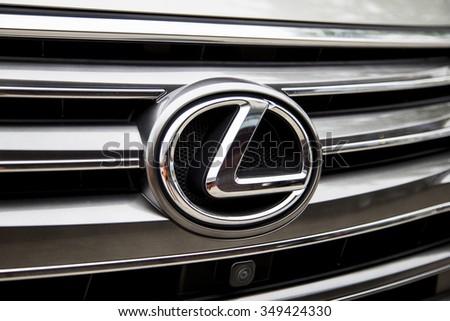 Hanoi, Vietnam - Dec 3, 2015: Lexus metac logo closeup on the Lexus LX 570 car in Hanoi, Vietnam - stock photo
