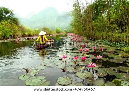 HaNoi, VietNam, december, 27, 2015: Fall on Yen stream. Yen stream on the way to Huong pagoda in autumn, Hanoi, Vietnam. Vietnam landscapes.