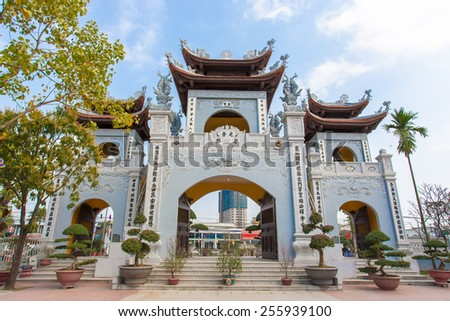 Hanoi, Vietnam, February 2 2015  Four flags temple in Hanoi,one of the largest temple and the oldest in Hanoi - stock photo