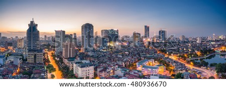 Hanoi, Vietnam - June 30, 2016:Aerial view of Hanoi skyline cityscape at sunset time