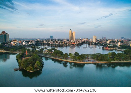 Hanoi, Vietnam - June 29, 2015: Aerial view of Hanoi skyline cityscape near Thanh Nien street.