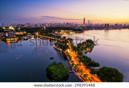 Hanoi, Vietnam - June 29, 2015: Aerial view of Hanoi skyline cityscape near Thanh Nien street at sunset time