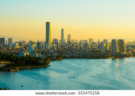 Hanoi, Vietnam - June 29, 2015: Aerial view of Hanoi skyline cityscape near West Lake at sunset time