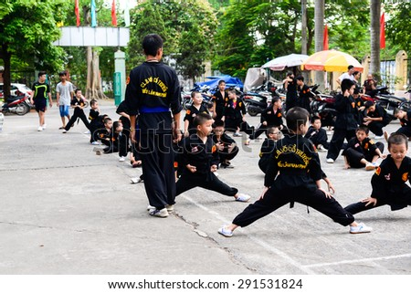 Hanoi, VietNam - June 23, 2015: Class of Martial Arts for children - stock photo