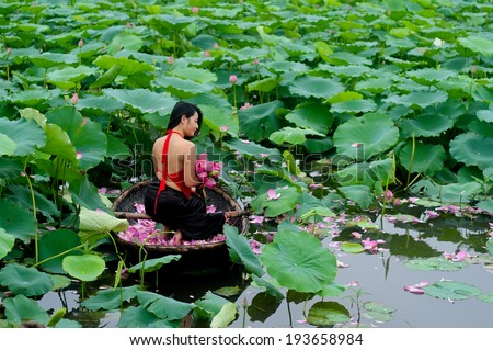 HANOI, VIETNAM, JUNE 15: Unidentified Vietnamese girl wear traditional costume on boat in lake of lotus on June 15, 2012 in Hanoi, Vietnam. Lotus blossom in June or July in VIetnam.