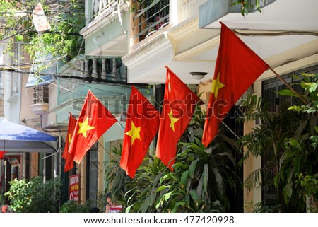 Hanoi, Vietnam: Life in Vietnam- Hanoi,Flags in Hanoi's Old Quarter celebrate the Independence Day of Vietnam (September 2 annually). Hanoi on September 1, 2016.