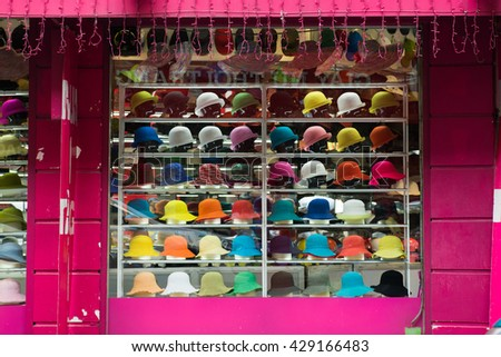 HANOI, VIETNAM - MAY, 29, 2016: A hat shop in Hanoi ancient town.