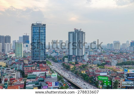 Hanoi, Vietnam - May 14, 2015: Aerial view of Hanoi skyline cityscape at Nguyen Chi Thanh street at sunset time