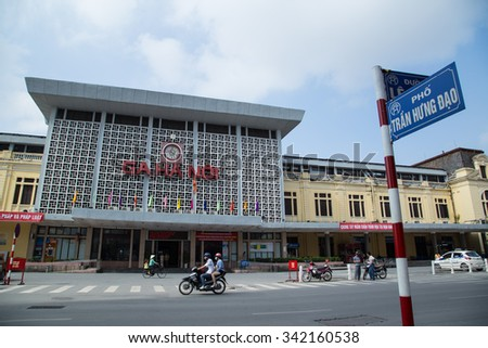 Hanoi, Vietnam - Nov 22, 2015: Front view of the old Hanoi Railway Station in Hanoi capital. Traveling by old and noisy train is one of the most favorite way of experience for foreign tourist. - stock photo