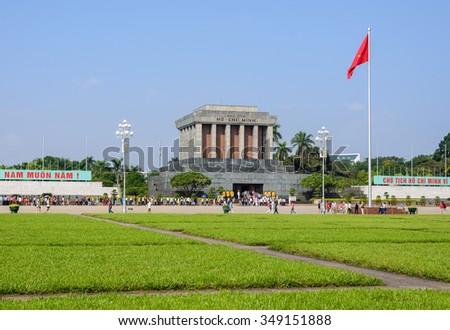Hanoi, Vietnam - Nov 22, 2015: Ho Chi Minh Mausoleum in Hanoi, vietnam - stock photo
