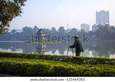 Hanoi, Vietnam -November 20, 2016 Hoan Kiem Lake, the little lake in the old part of Hanoi, Vietnam, with the Turtle Tower. Turtle Tower is the symbol of Hanoi,Vietnam