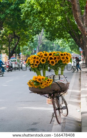 HANOI, VIETNAM - NOVEMBER 16: Unidentified flower vendor in a street in Hanoi on November 16, 2013 in Hanoi, Vietnam. This is a specific tradition in Hanoi