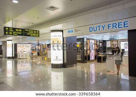 HANOI, VIETNAM - OCTOBER 1 : View of duty free shop zone at Noi Bai International Airport on October 1, 2015 in Hanoi, Vietnam. It is the largest airport in Vietnam. - stock photo