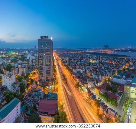 Hanoi, Vietnam - Sep 19, 2015: Aerial skyline view of Nguyen Khoai street with BIDV building. Hai Ba Trung district - stock photo