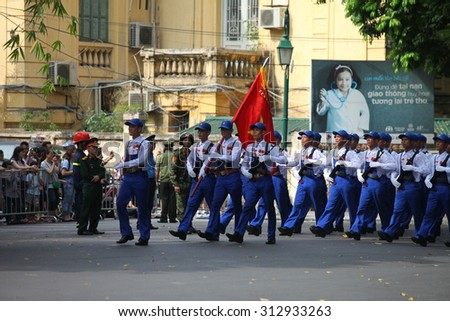 hanoi, vietnam, Sep 2, 2015: parade celebrate Independence Day in Vietnam