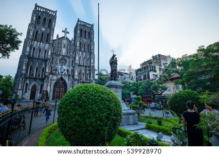 HANOI, VIETNAM - Sep 15, 2016: St Joseph's Cathedral in Hanoi, Vietnam. The famous place in Hanoi, Vietnam.