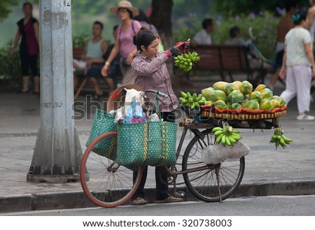 Hanoi, Vietnam, September 26, 2015: Life in Vietnam- Hanoi,Vietnam Street vendors in Hanoi's Old Quarter