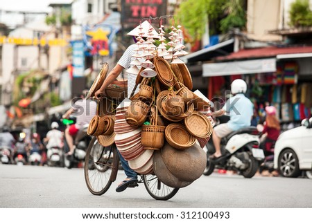Hanoi, vietnam : Street vendors in Hanoi's Old Quarter on Aug 30 2015, He's sell souvernir made from bamboo, this is Vietnam's culture