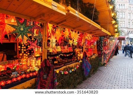 HANOVER, GERMANY - DECEMBER 03, 2015: christmas market in the old town of Hanover with unidentified people. The market is a tourist attraction with 1,8 mio visitors in 2012, it has about 190 stalls